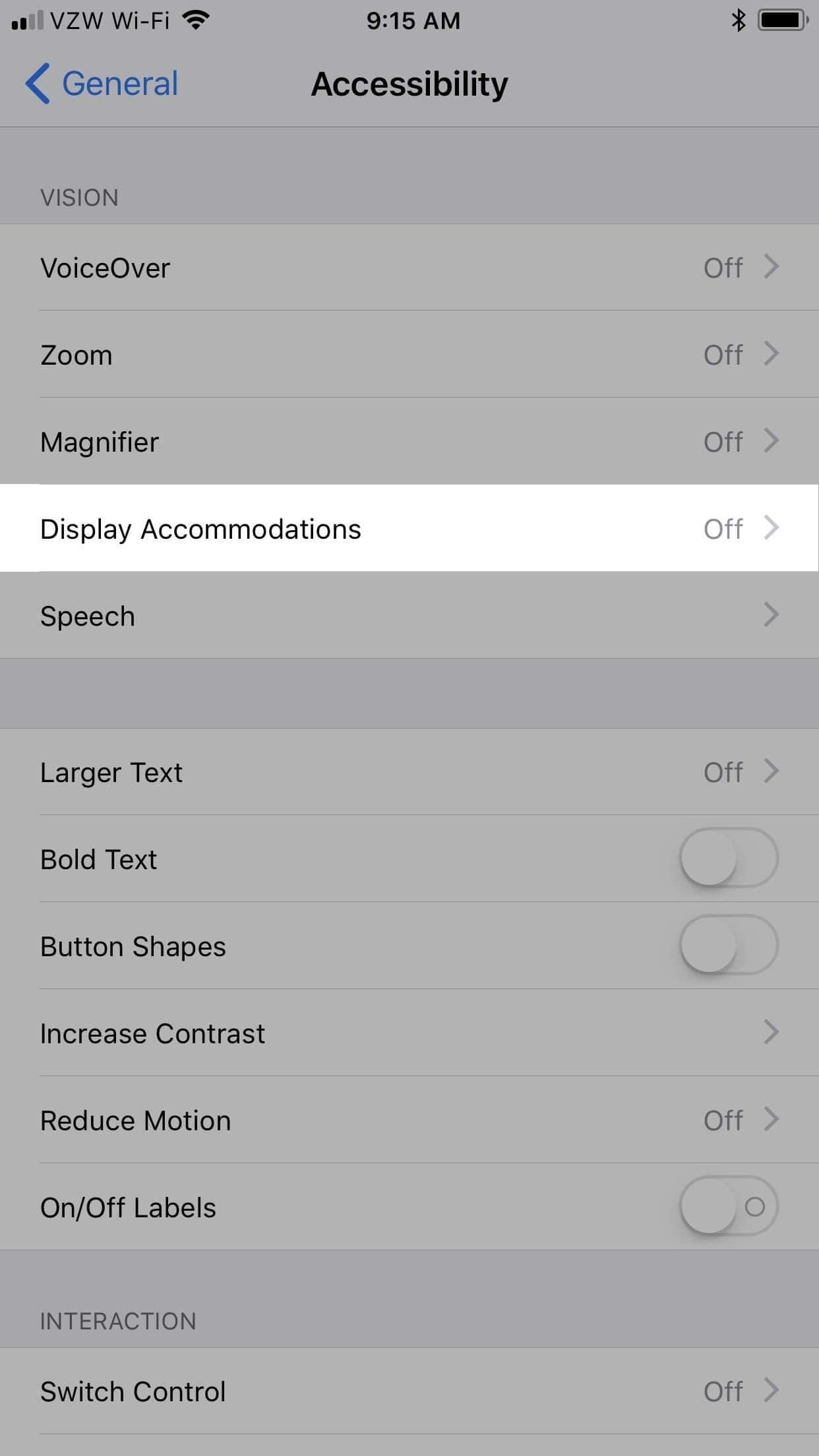 step 2 to turn off auto-brightness in iPhone