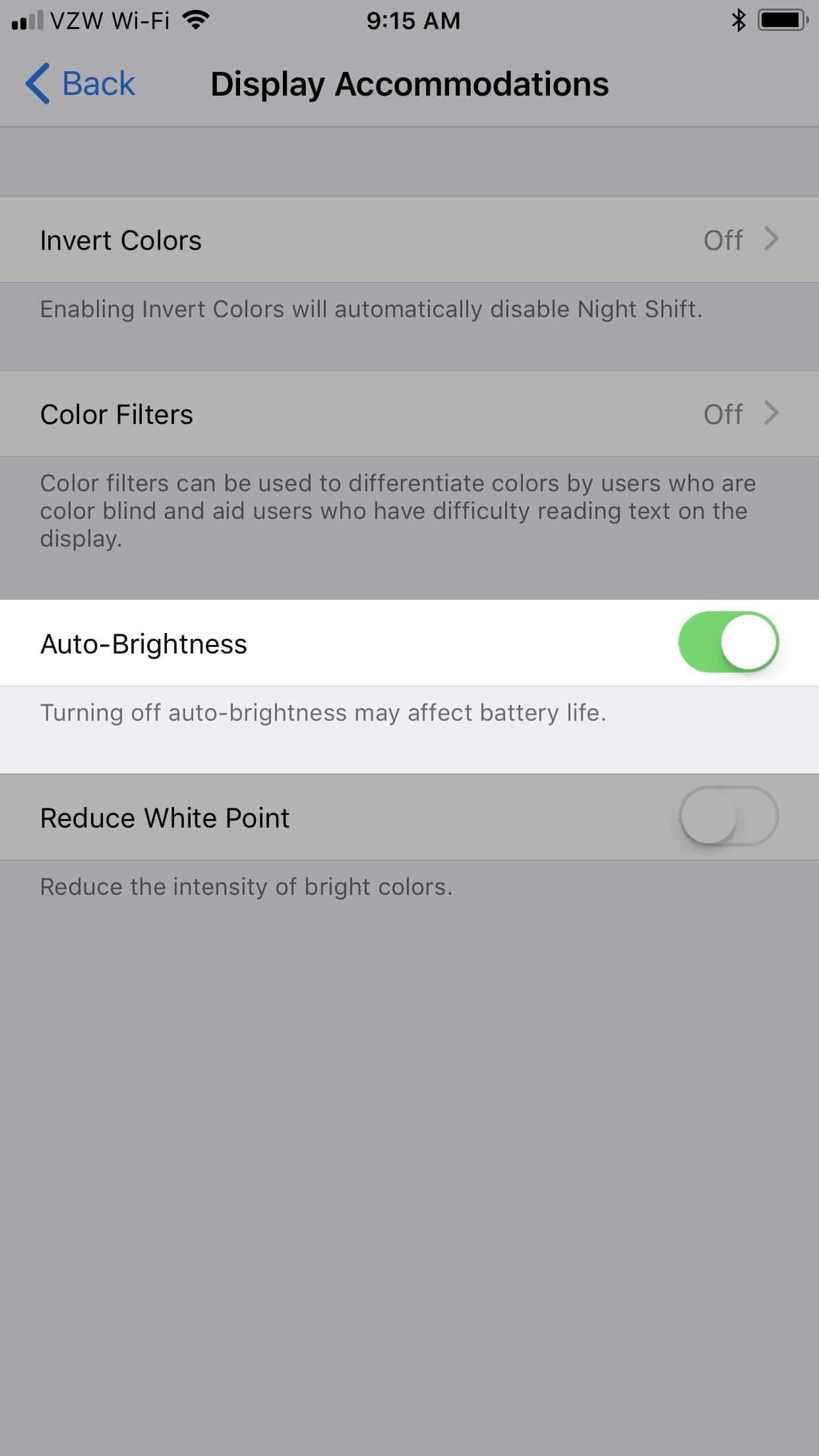 step 3 to turn off auto-brightness in iPhone