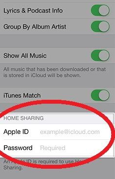 home sharing on idevice-setting