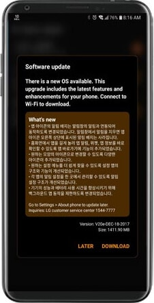 download and update LG to android oreo
