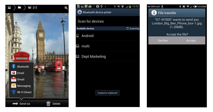 transfer Android photos over Bluetooth