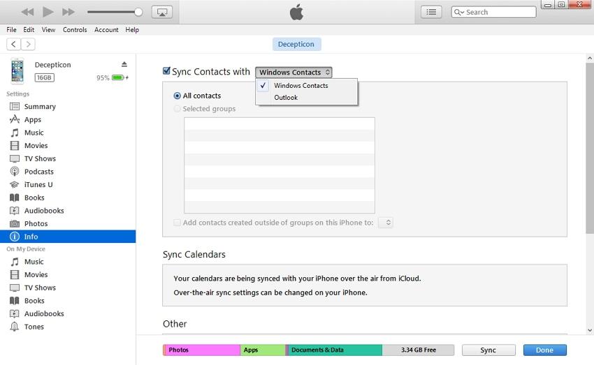 comment transférer des contacts du PC vers l'iphone - en utilisant iTunes étape 3
