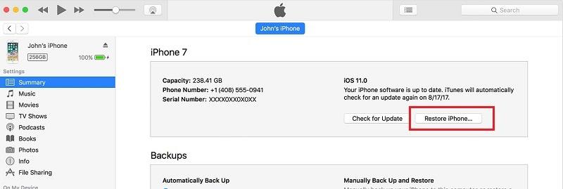 iphone schaltet sich nicht ein - Stellen Sie Ihr iPhone mit iTunes wieder her