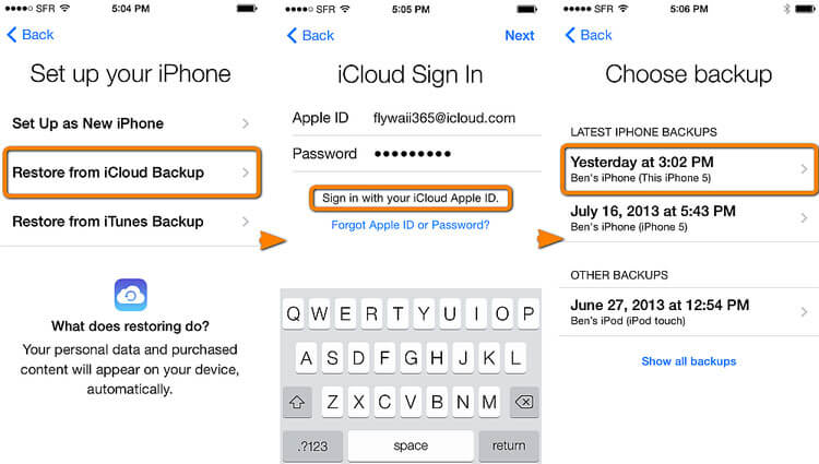 Recover deleted messages iphone from iCloud backup
