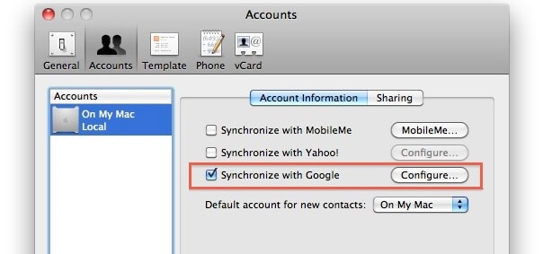 sync android with mac for contacts