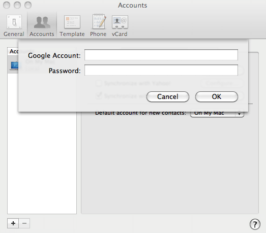 sync android with mac: enter gmail credentials