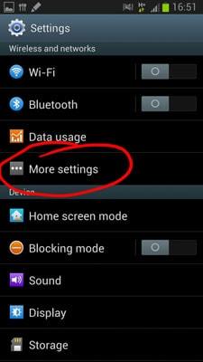 transferir músicas de Android para Android-clique em Mais Definições