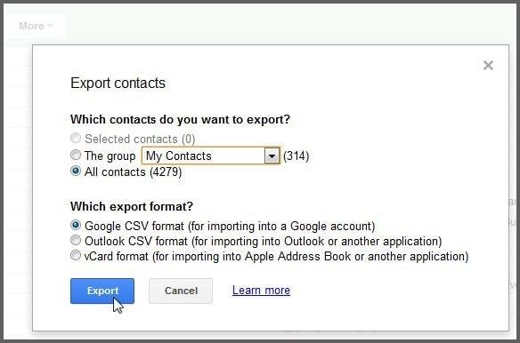 kontakte von samsung auf pc übertragen-Klicken Sie auf die Schaltfläche 'Exportieren'