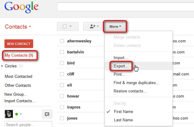 import contacts from gmail to android-click 'Export contacts'