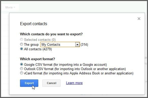 import contacts from gmail to android-choose VCF/vCard/CSV as the export format