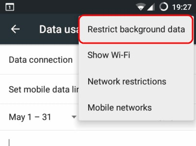import contacts from gmail to android-choose 'Restrict background data'