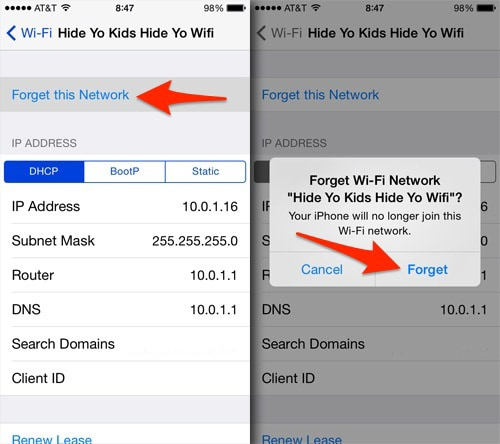 ios12whatsappproblems and solutions-Reset the Wifi connection