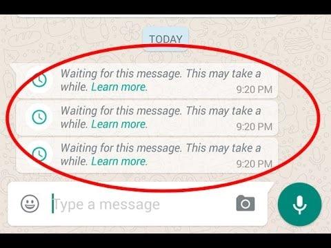 ios12whatsappالمشاكل والحلول- ظهور في انتظار هذه الرسالة