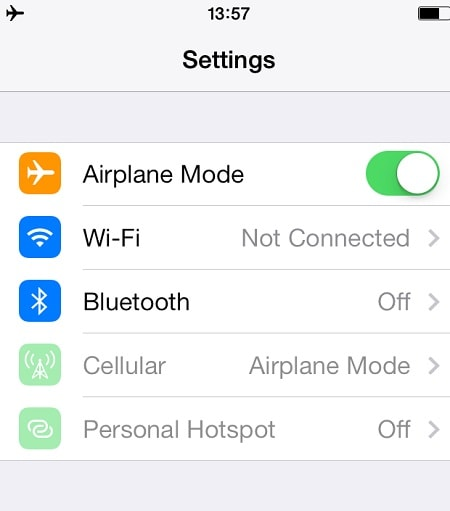 ios12whatsappproblems and solutions-Turn on/off the Airplane mode