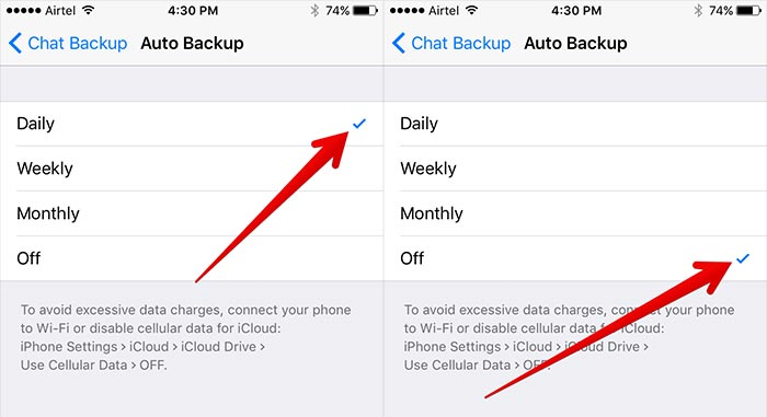 ios12whatsappproblems and solutions-Turn off the Auto backup option