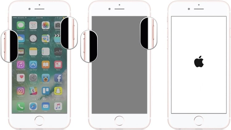 iphone stuck on apple logo ios-12-Force restart iPhone 7