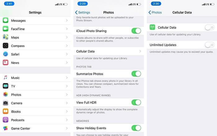 photosdisappeared afterios 12update-Enable cellular data