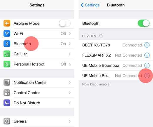 spostare i contatti da iPhone ad Android-attiva il Bluetooth