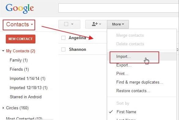 spostare i contatti da iPhone ad Android-importa file