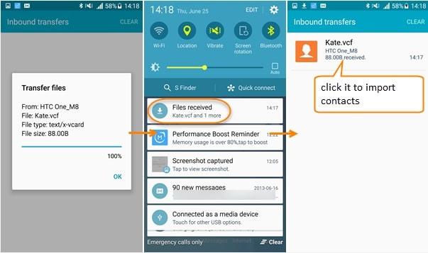spostare i contatti da iphone ad android-importa il file per completare il trasferimento