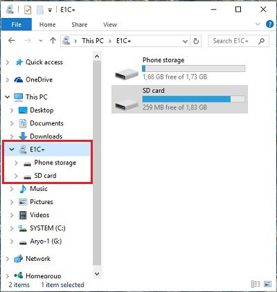 mobile to pc file transfer-go to the computer location