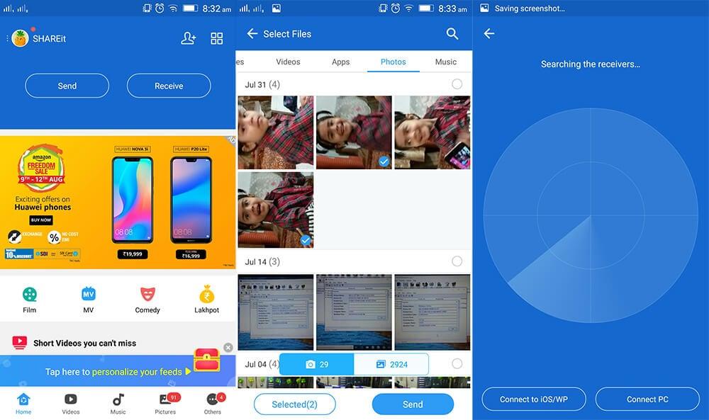 uss shareit para transferir fotos de Android al iPhone XS (Max)