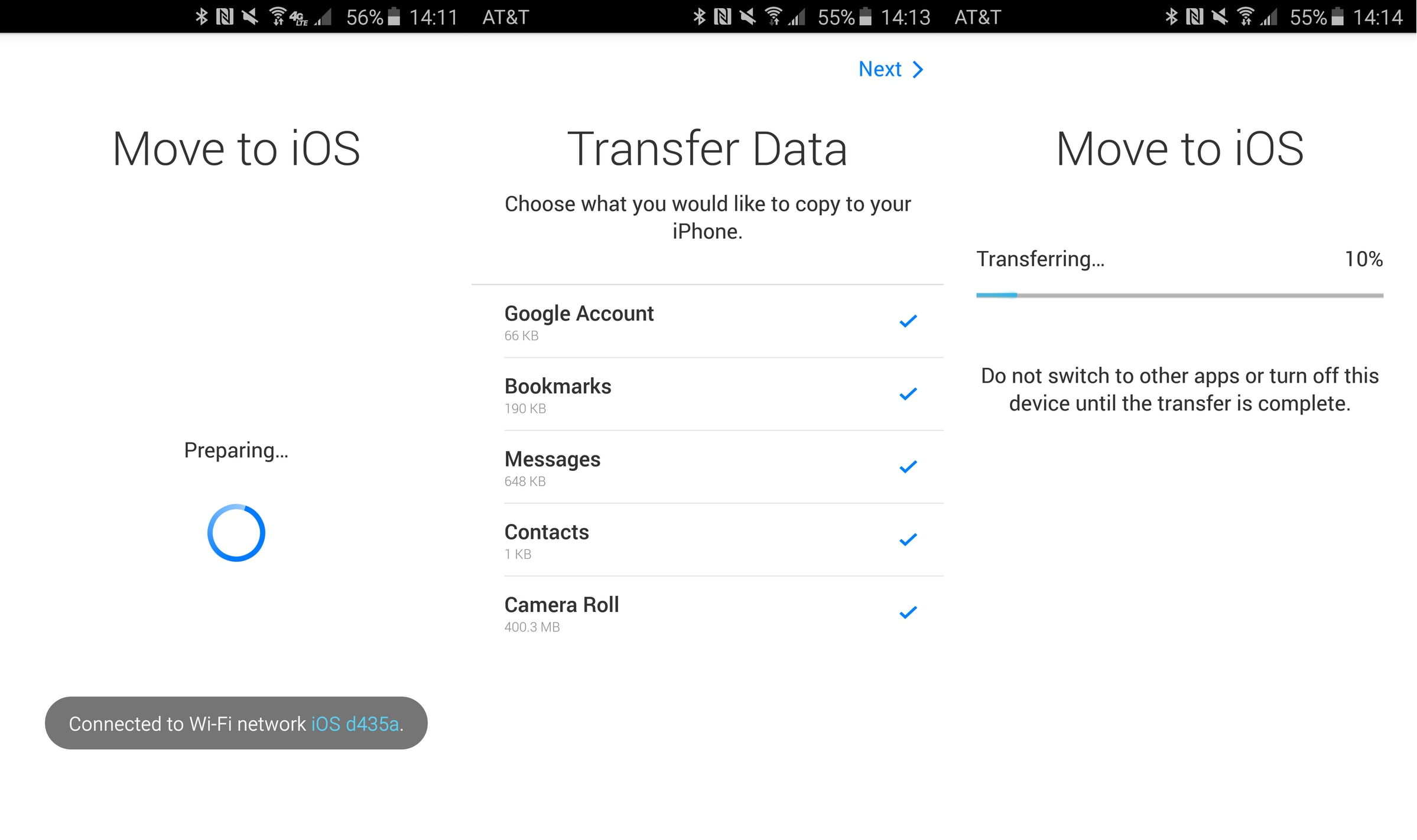 samsung to iphone transfer-sync the information
