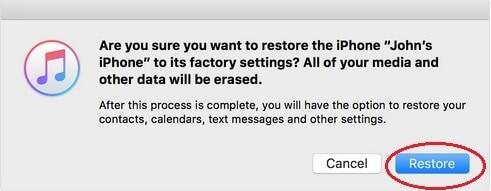 Confirm Restoring iPhone