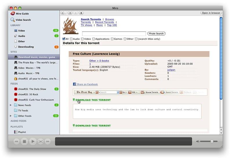 schnellster Torrent-Downloader - Miro