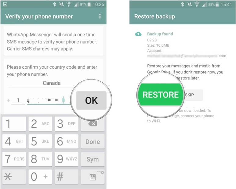 reinstall app to see deleted whatsapp messages on android