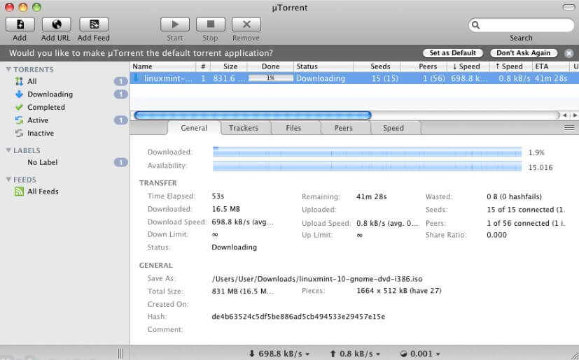 schnellster Torrent-Downloader - uTorrent