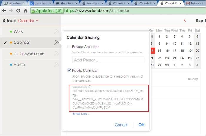 enable public calendar on icloud