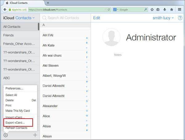 export icloud contacts to computer