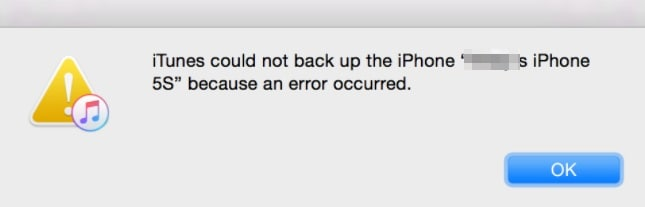 iTunes could not backup the iPhone because an error occurred