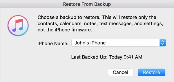 select the itunes backup