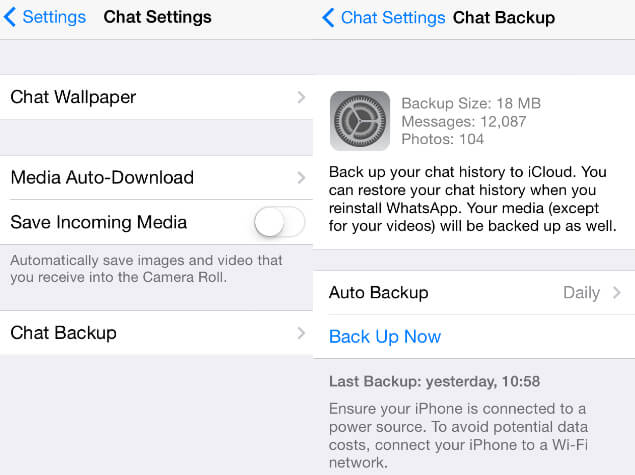 view latest whatsapp backup