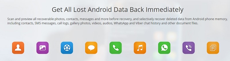 Jihosoft Android Phone Recovery supported data types
