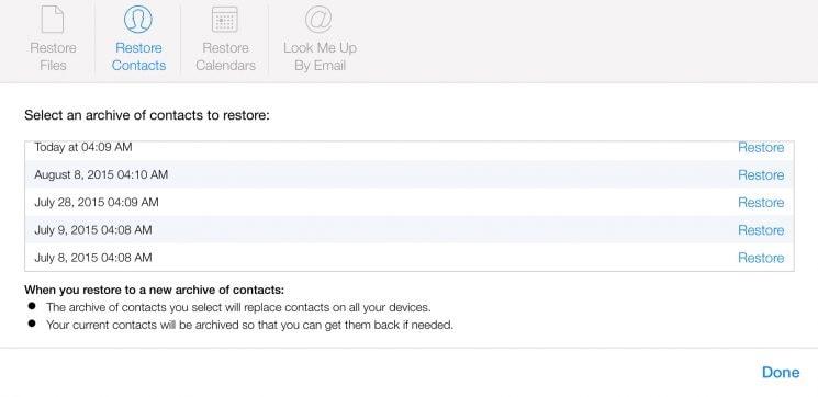 Kontakte von iPhone über iCloud.com wiederherstellen