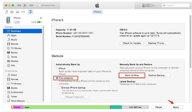 Kontakte von iPhone über das iTunes-Backup wiederherstellen