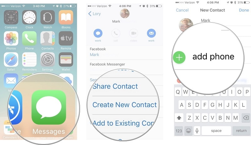 retrieve iphone contacts via messages