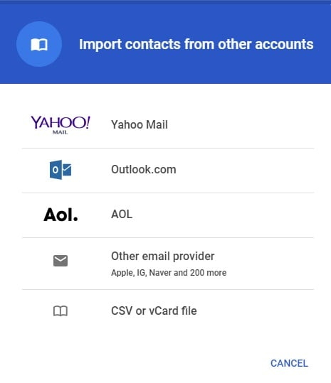 import csv or vcard contacts file