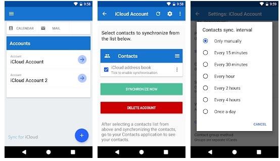 icloud-Kontakte zu android sync app - 1