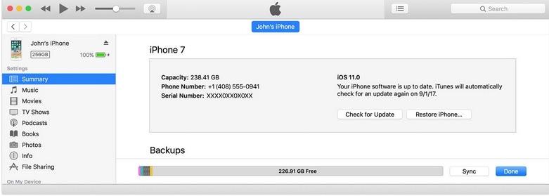die zu synchronisierenden Datentypen in iTunes wählen