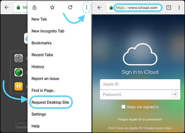 transfer icloud photos to Android without computer - step 1