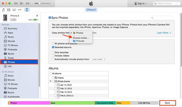 مزامنة الصور من samsung إلى iphone باستخدام itunes