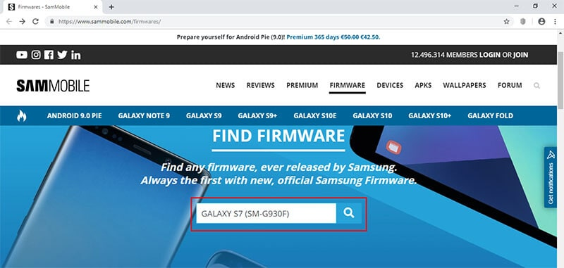 download samsung firmware from sammobile - step 1