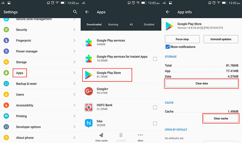 clear data to fix play store download pending