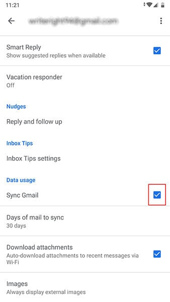Gmail crashing on Android - sync gmail
