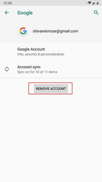 Gmail crashing on Android - remove account