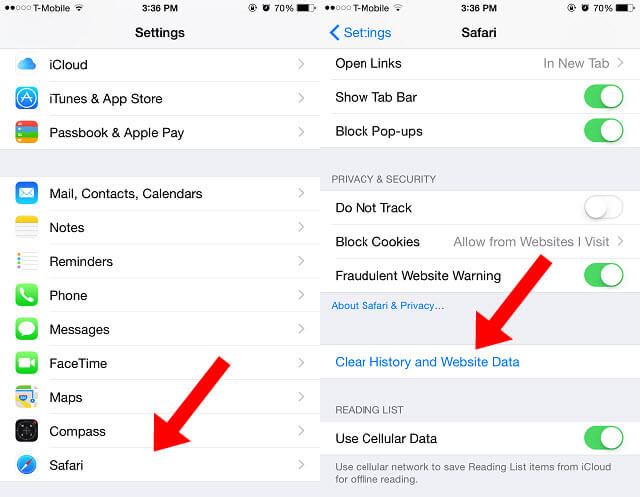 remove app cache on iphone settings